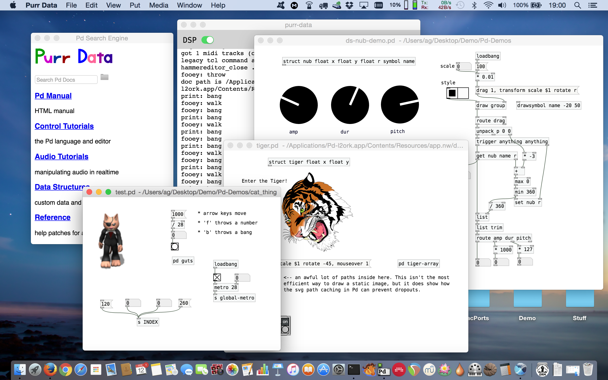 Purr Data running on macOS.